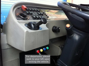 When a button is pressed, a message is played. In this photo, we see the button layout in a typical vehicle.